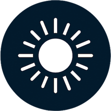dark blue circle with white sun icon