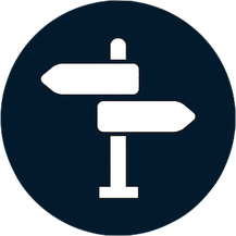 dark blue circle with white street sign icon